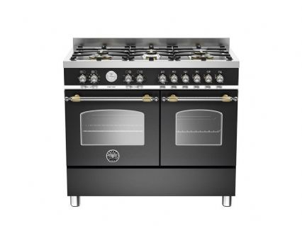 100cm Bertazzoni Heritage 6 burners and 2 electric ovens in Matt Black HER100-6-MFE-D-NET